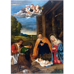 Christmas Cards - The Nativity with Shepherds (Francesco Vecelio)